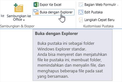 SharePoint 2016 buka dengan Explorer di IE11