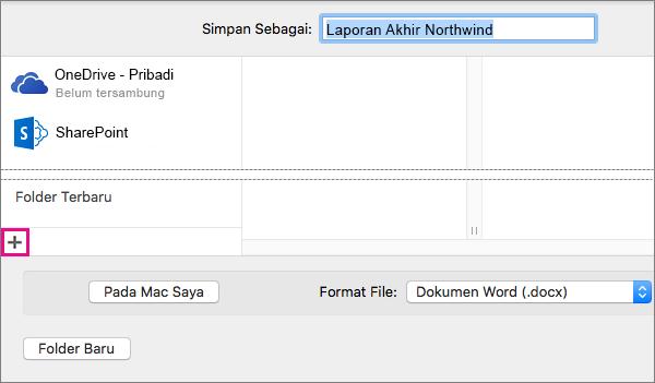 Untuk menambahkan layanan online, klik tanda tambah di kolom bagian kiri bawah di kotak dialog Simpan Sebagai.