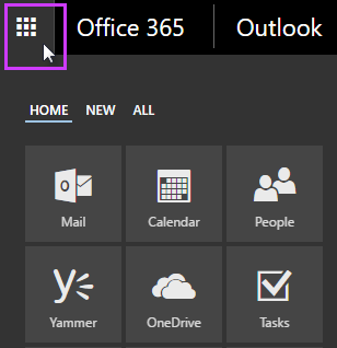 Peluncur aplikasi Office 365 yang memperlihatkan petak email, kalender, orang, Yammer, OneDrive, dan tugas
