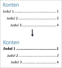 Memperlihatkan tampilan sebelum dan sesudah pemformatan gaya teks dalam Daftar Isi