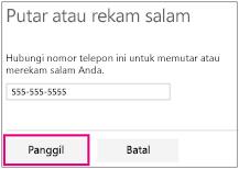 Masukkan nomor telepon Anda dan klik tombol untuk merekam salam Anda