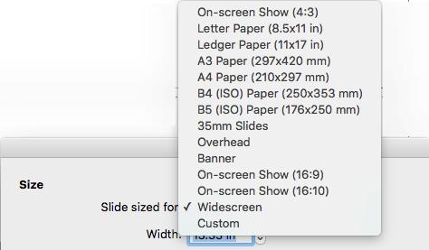 Terdapat beberapa opsi ukuran slide yang telah ditentukan sebelumnya dalam kotak dialog penyetelan Halaman