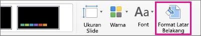 Format Latar Belakang pada tab Desain