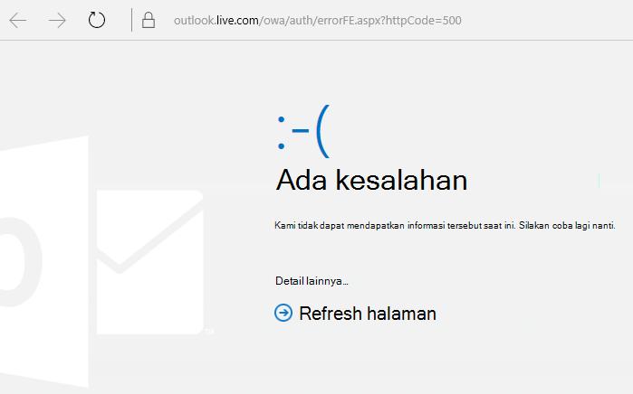 """Kode kesalahan 500 """"Terjadi kesalahan"""" Outlook.com"""