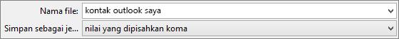 Menyimpan buku alamat kontak sebagai .csv file