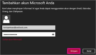 Halaman Tambahkan akun Microsoft Anda Windows 8 Mail