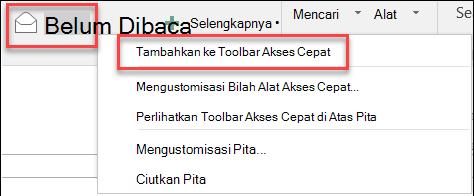 Tambahkan ke bilah alat akses cepat Outlook