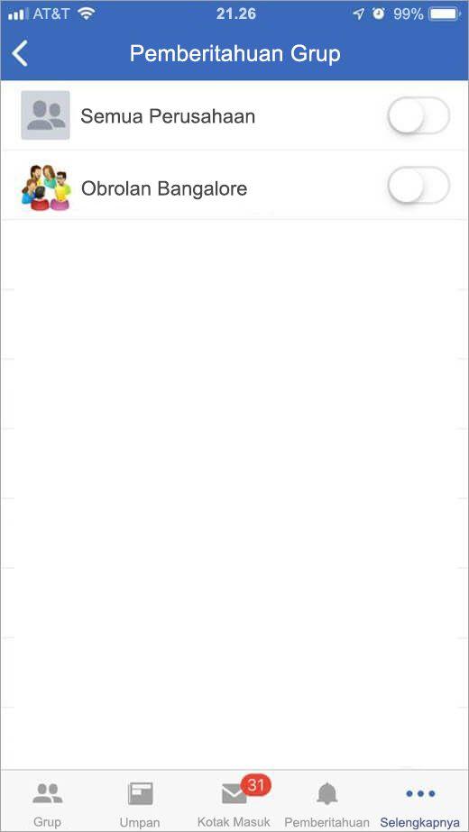 iOS Yammer halaman untuk memilih grup untuk menerima pemberitahuan dari