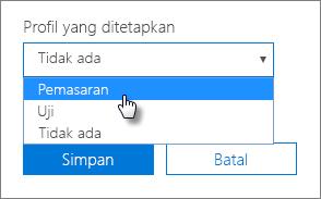 Di panel Perangkat, pilih Profil yang ditetapkan untuk menerapkannya.