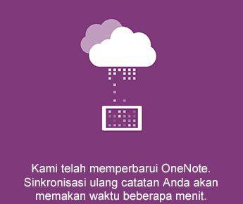 Layar sinkronisasi di OneNote untuk Android