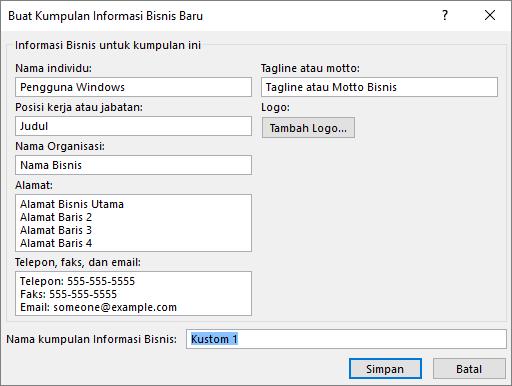 Cuplikan layar kotak dialog Buat Kumpulan Informasi Bisnis Baru.
