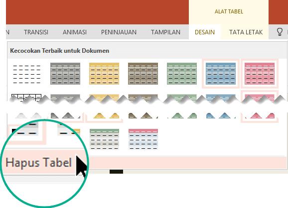 Menghapus gaya tabel dengan menggunakan perintah Hapus tabel.