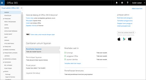 Contoh tampilan pusat admin Office 365 bila Anda memiliki Paket Skype for Business Online.