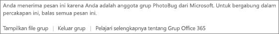 Pesan yang disampaikan kepada tamu di setiap email yang diterima dari grup