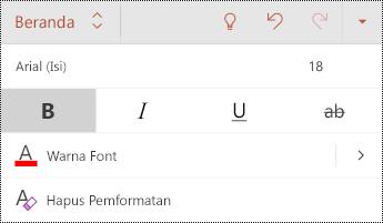 Menu font di PowerPoint untuk Android.