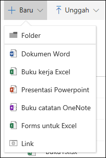 Membuat file baru di pustaka dokumen di Office 365