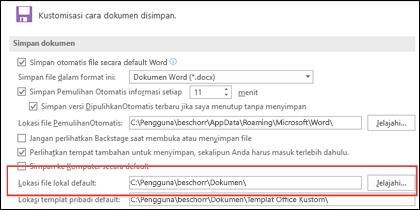Opsi Simpan di Word, memperlihatkan pengaturan folder kerja default