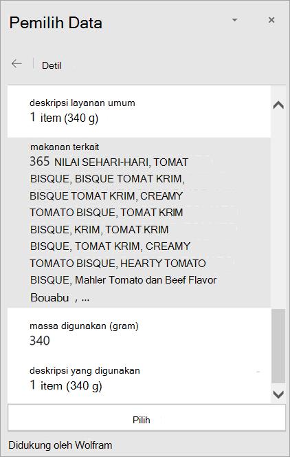 Cuplikan layar detail hasil bisque tomat krim di Pemilih Data.