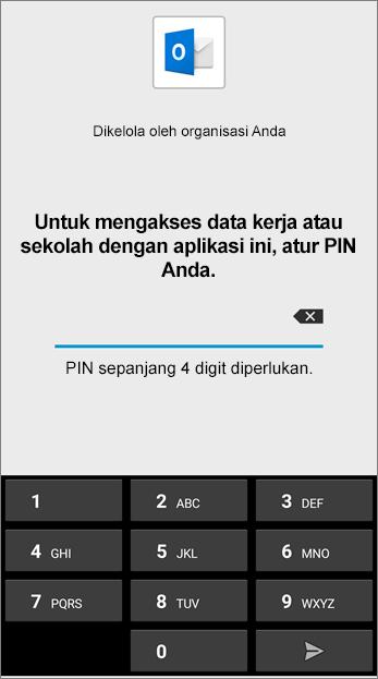 Atur PIN untuk aplikasi Outlook di Android