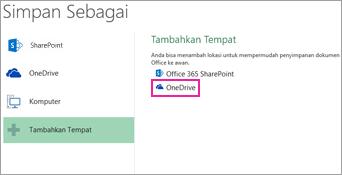 Opsi Menyimpan ke OneDrive