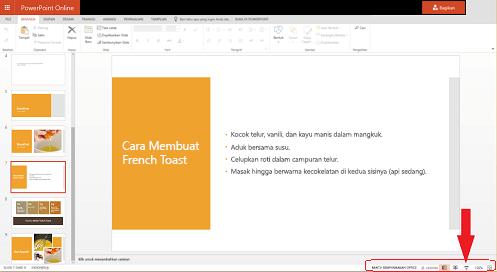 Untuk memulai peragaan slide dari slide saat ini, klik tombol Peragaan Slide di sudut kanan bawah browser.