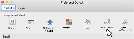 Tombol koreksi otomatis Outlook untuk Mac