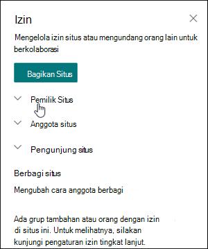 Kotak izin situs