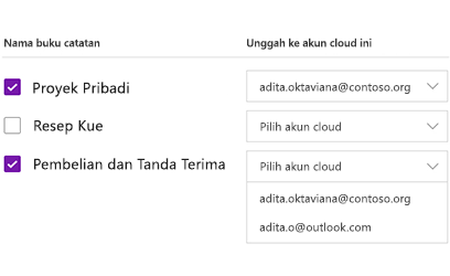 Mengunggah buku catatan ke akun cloud
