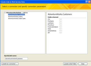 Koneksi data layanan Web yang tersedia untuk penautan