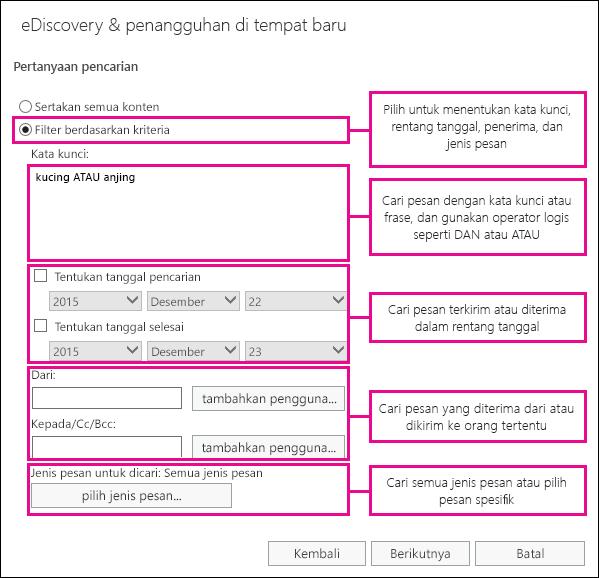Lakukan pencarian berdasarkan kriteria seperti kata kunci, rentang tanggal, penerima, dan jenis pesan