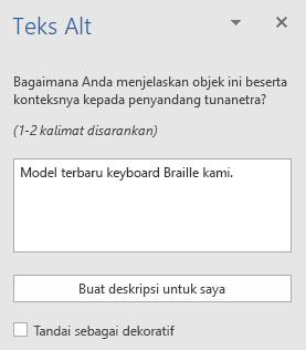 Panel Word Win32 teks Alt untuk gambar