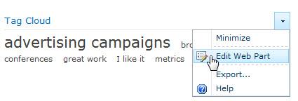 Menu Edit untuk tag awan Komponen Web