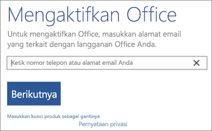 Memperlihatkan jendela Aktifkan Office