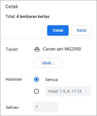 Opsi panel Cetak Chrome