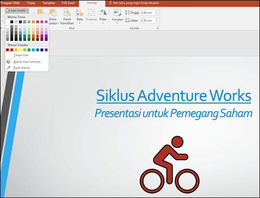Menggunakan alat Isian Grafik untuk mengubah warna gambar SVG