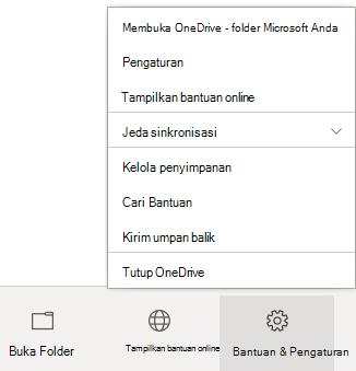 """Memperlihatkan ikon """"Pengaturan & Bantuan"""" dipilih, dengan menu hasil yang ditampilkan."""