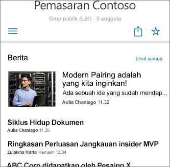 Cuplikan Layar Berita Tim di Situs