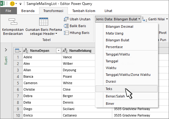Jendela Power query dengan teks dipilih