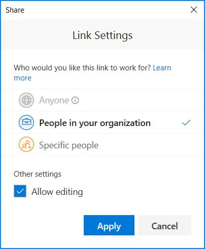 Memperlihatkan Link pengaturan untuk mengatur izin