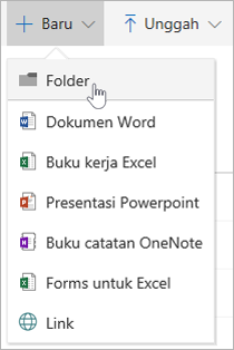 Menu baru yang memperlihatkan opsi folder baru