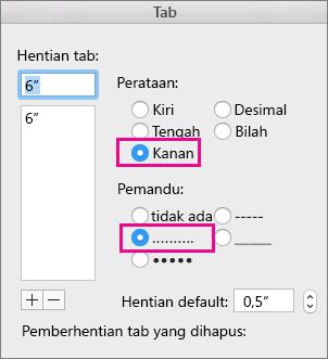 Kotak dialog Tab, diatur untuk tab rata kanan dengan titik