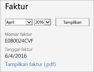 Cuplikan layar bagian Faktur dari halaman Detail Tagihan di Pusat Admin Office 365.