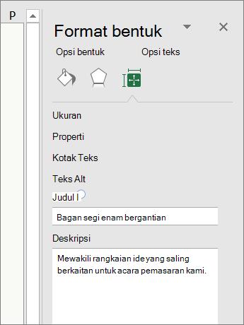 Cuplikan layar area Teks Alt dari panel Format Bentuk menjelaskan grafik SmartArt yang dipilih