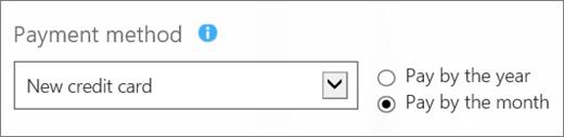 Cuplikan layar bagian 'Metode pembayaran' pada 'Bagaimana Anda ingin membayar?' halaman, dengan 'Kartu kredit baru' dan 'Membayar per bulan' opsi dipilih.