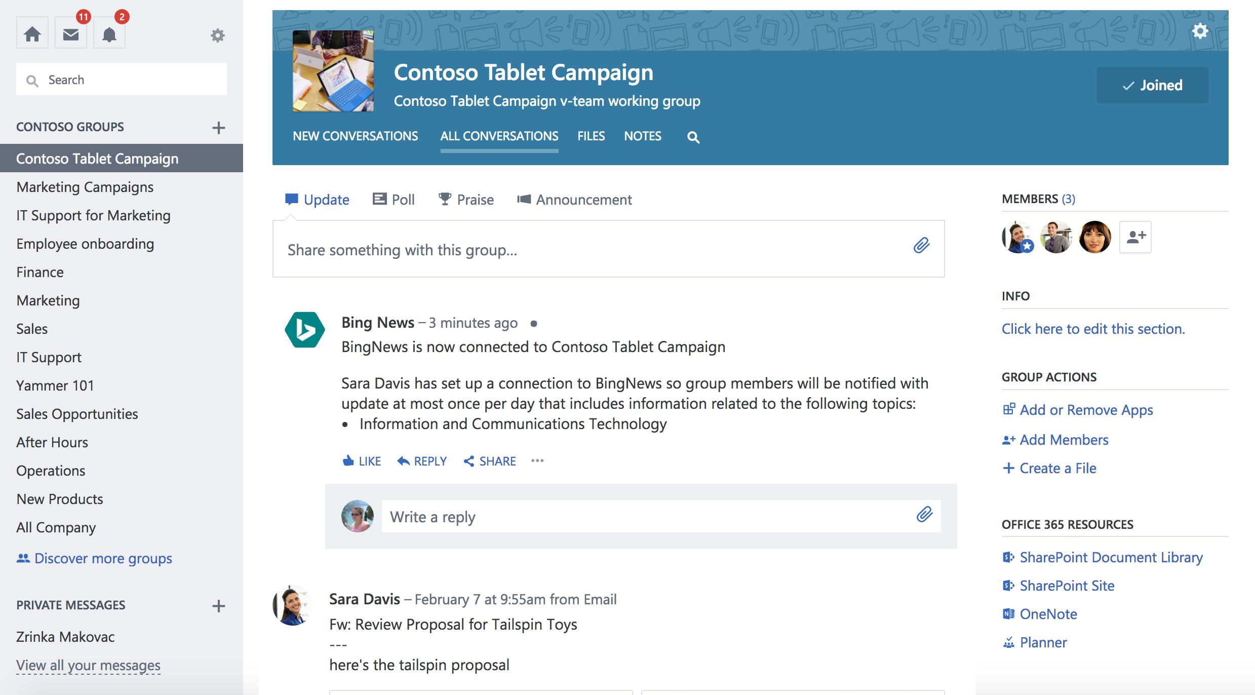 Cuplikan layar Office 365 tersambung grup Yammer dengan koneksi baru