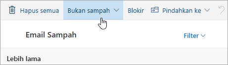 Cuplikan layar tombol Bukan sampah