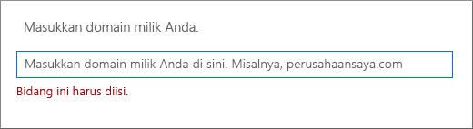Masukkan nama domain lalu klik Berikutnya