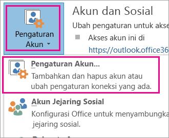Untuk menghapus akun Gmail Anda, pilih File, Pengaturan Akun, Pengaturan Akun.