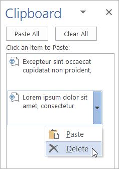 Memperlihatkan penghapusan item yang disalin dari Clipboard