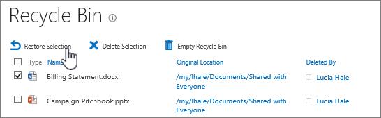 Pulihkan atau hapus item dari keranjang sampah.